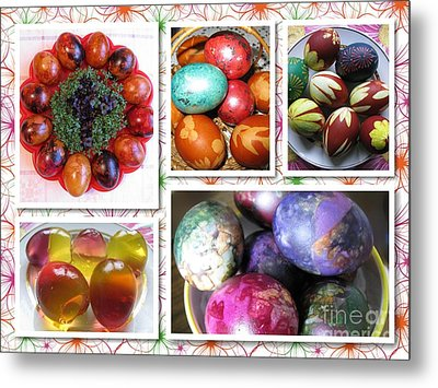 Metal Print featuring the photograph Colorful Easter Eggs Collage 07 by Ausra Huntington nee Paulauskaite
