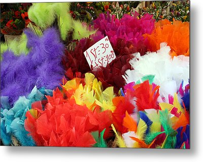 Colorful Easter Feathers Metal Print by Linda Woods