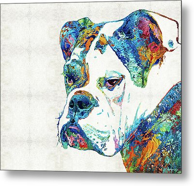 Colorful English Bulldog Art By Sharon Cummings Metal Print