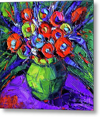 Colorful Flowers On Round Purple Table Metal Print by Mona Edulesco