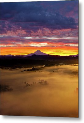 Colorful Foggy Sunrise Over Sandy River Valley Metal Print by David Gn