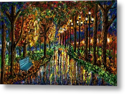 Metal Print featuring the digital art Colorful Forest by Darren Cannell