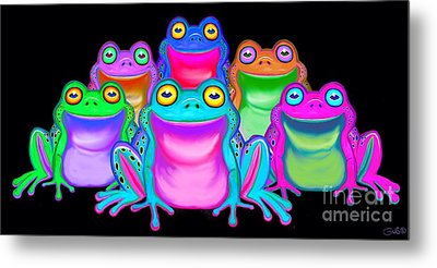 Metal Print featuring the painting Colorful Froggies by Nick Gustafson