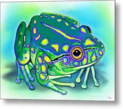 Metal Print featuring the painting Colorful Froggy by Nick Gustafson