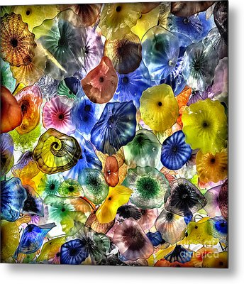 Colorful Glass Ceiling In Bellagio Lobby Metal Print