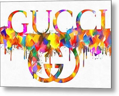 Colorful Gucci Paint Splatter Metal Print