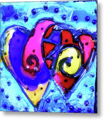 Metal Print featuring the painting Colorful Hearts Equals Crazy Hearts by Genevieve Esson