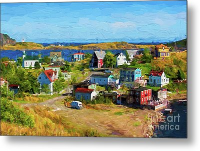 Colorful Homes In Trinity, Newfoundland - Painterly Metal Print by Les Palenik