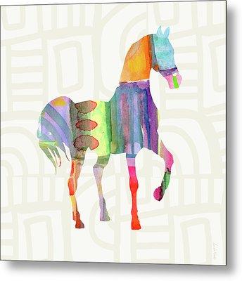 Colorful Horse 3- Art By Linda Woods Metal Print by Linda Woods