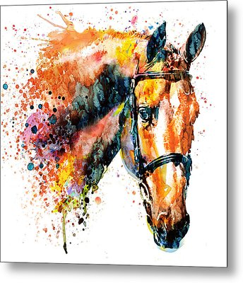 Metal Print featuring the mixed media Colorful Horse Head by Marian Voicu