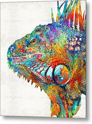 Colorful Iguana Art - One Cool Dude - Sharon Cummings Metal Print by Sharon Cummings