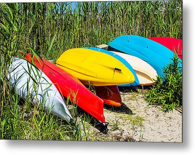 Colorful Kayaks Metal Print by Colleen Kammerer