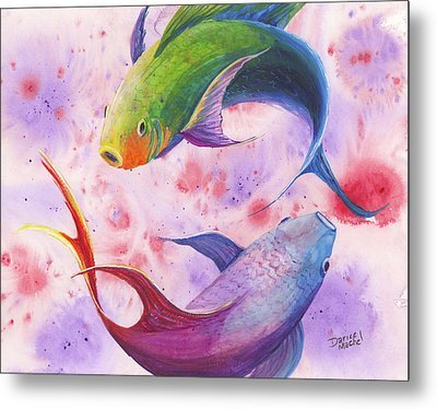 Metal Print featuring the painting Colorful Koi by Darice Machel McGuire