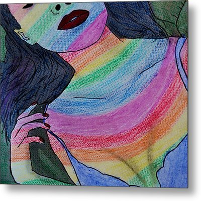 Colorful Lady Metal Print by Lucy Frost