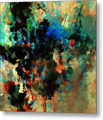 Metal Print featuring the painting Colorful Landscape / Cityscape Abstract Painting by Ayse Deniz