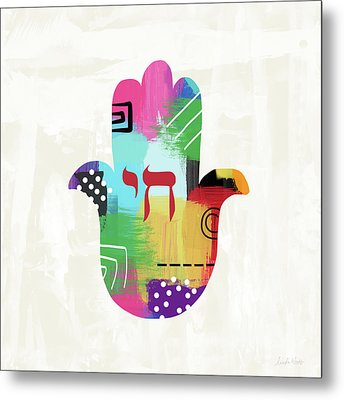 Colorful Life Hamsa- Art By Linda Woods Metal Print by Linda Woods