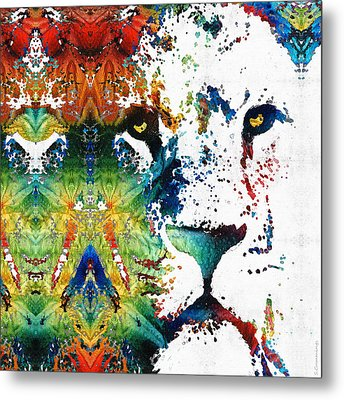 Colorful Lion Art 2 By Sharon Cummings Metal Print by Sharon Cummings