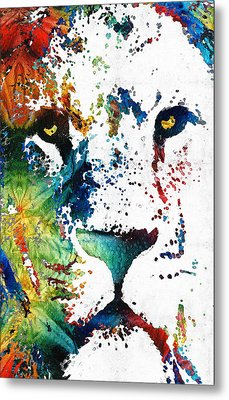 Colorful Lion Art By Sharon Cummings Metal Print by Sharon Cummings