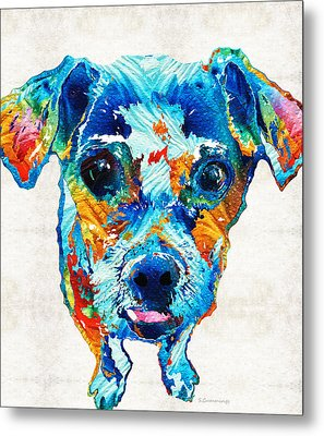 Colorful Little Dog Pop Art By Sharon Cummings Metal Print