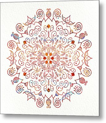 Colorful Mandala On Watercolor Paper Metal Print by Patricia Lintner