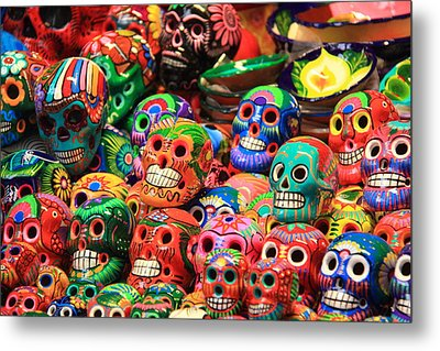 Colorful Mexican Day Of The Dean Ceramic Skulls Metal Print by Roupen  Baker