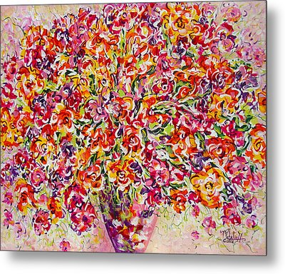 Metal Print featuring the painting Colorful Organza by Natalie Holland
