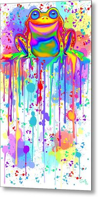 Metal Print featuring the painting Colorful Painted Frog  by Nick Gustafson