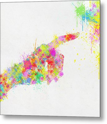 Colorful Painting Of Hand Pointing Finger Metal Print by Setsiri Silapasuwanchai