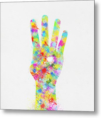 Colorful Painting Of Hand Pointing Four Finger Metal Print by Setsiri Silapasuwanchai