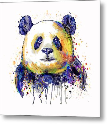 Metal Print featuring the mixed media Colorful Panda Head by Marian Voicu