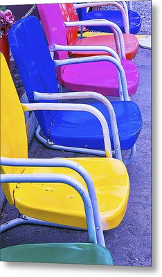 Colorful Patio Chairs Metal Print by Garry Gay