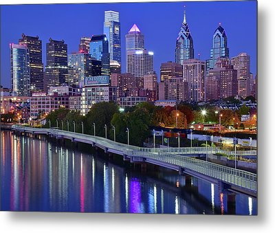 Metal Print featuring the photograph Colorful Philly Night Lights by Frozen in Time Fine Art Photography