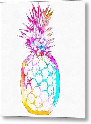 Colorful Pineapple Metal Print