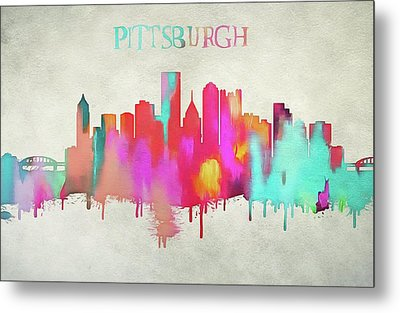 Colorful Pittsburgh Skyline Silhouette Metal Print
