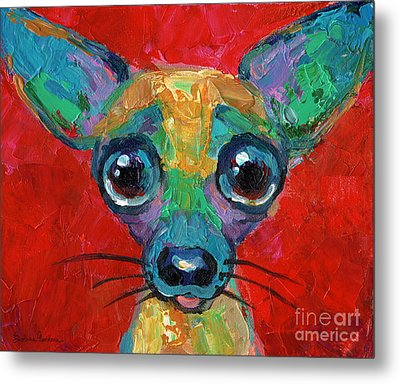 Colorful Pop Art Chihuahua Painting Metal Print by Svetlana Novikova