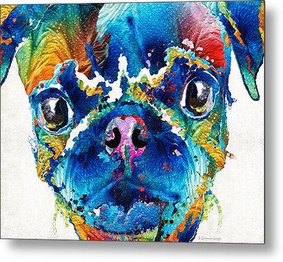 Colorful Pug Art - Smug Pug - By Sharon Cummings Metal Print