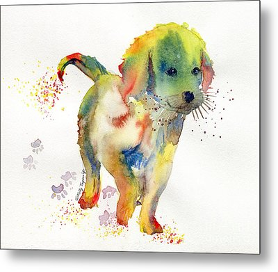 Colorful Puppy Watercolor - Little Friend Metal Print by Melly Terpening