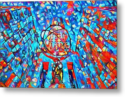 Metal Print featuring the painting Colorful Rockefeller Center Atlas by Dan Sproul