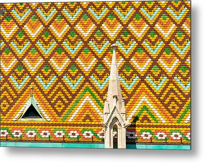 Colorful Roof With Zsolnay Ceramics Matthias Church Budapest  Metal Print