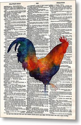 Colorful Rooster On Vintage Dictionary Metal Print by Hailey E Herrera