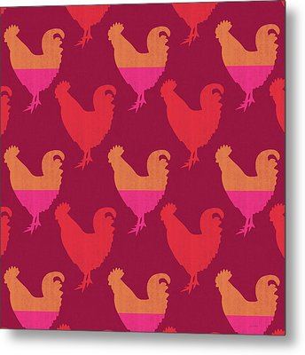 Colorful Roosters- Art By Linda Woods Metal Print by Linda Woods