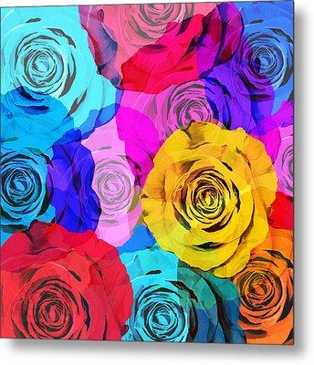 Colorful Roses Design Metal Print by Setsiri Silapasuwanchai