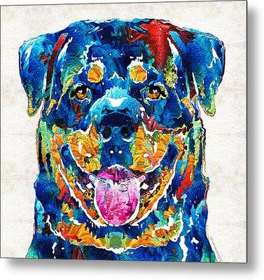 Colorful Rottie Art - Rottweiler By Sharon Cummings Metal Print