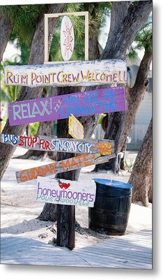 Colorful Signs At Rum Point Grand Cayman Island Metal Print by George Oze
