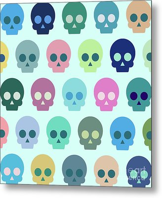 Colorful Skull Cute Pattern Metal Print by Amir Faysal