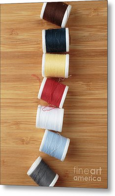Colorful Spools Of Thread Metal Print by Edward Fielding