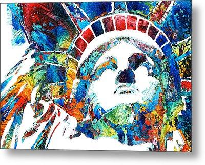 Colorful Statue Of Liberty - Sharon Cummings Metal Print by Sharon Cummings