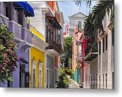 Colorful Street Of Old San Juan Metal Print by George Oze