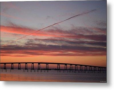 Colorful Sunrise Over Navarre Beach Bridge Metal Print by Jeff at JSJ Photography