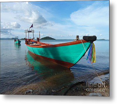 Colorful Turquoise Boat Near The Cambodia Vietnam Border Metal Print